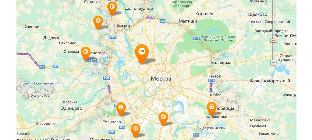 карта расположения гипермаркетов OBI